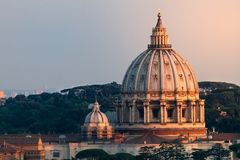 VIew of St Peters Dome At Sunset Stock Photography