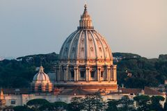 VIew of St Peters Dome At Sunset Stock Image