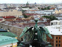 View of St. Petersburg from above.. Top view of Saint Petersburg. Rooftops. City center. Tourism in Saint Petersburg. Journey Stock Photos