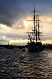 View of St. Petersburg at cloudy sunset Royalty Free Stock Image