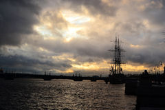 View of St. Petersburg at cloudy sunset Royalty Free Stock Images