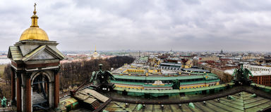 View of St. Petersburg from the colonnade of St. Isaac's Cathedral Stock Images