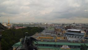 View of St. Petersburg from the colonnade of St. Isaac`s Cathedral. Russia stock video footage