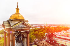 View of St. Petersburg from the dome of Saint Isaac Cathedral. In sunlight Royalty Free Stock Images