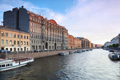 View of St. Petersburg. River channel with boats Stock Photo