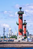 View of St. Petersburg. Rostral columns in sunny day Stock Images