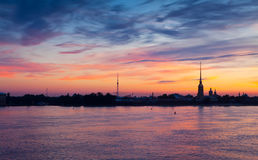 View of St. Petersburg in summer dawn Stock Image