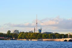 View of the St.Petersburg. Tower and Mosque. Royalty Free Stock Photography