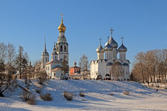 View of St. Sophia Cathedral, the belfry and the Church of Alexander Nevsky. Beautiful winter cityscape with a view on Saint Sophia Cathedral and Alexander Royalty Free Stock Photos