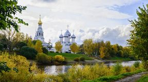 View of St. Sophia Cathedral and the bell tower of the city of Vologda. Sophia Cathedral and bell tower in the city of Vologda. Russia Stock Photos