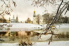 View of St. Sophia Cathedral and the bell tower of the city of Vologda. Winter view of St. Sophia Cathedral and bell tower of the city of Vologda from the shore stock image