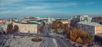 View of St Sophia Cathedral on Sophia Square. Kiev, Ukraine. View from Bell tower of St Sophia Cathedral on Sophia Square, St Michael Golden domed monastery and Royalty Free Stock Photo