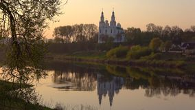 View of St. Sophia Cathedral at sunset. Polotsk, Belarus stock footage