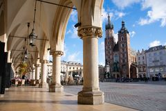 St. Mary`s Basilica in Krakow stock images