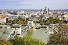 View of St Stephen`s Basilica and Chain Bridge in Budapest in au stock photo