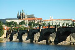 View on St. Vitus cathedral and Charles bridge Royalty Free Stock Photography