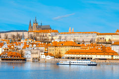 View on St. Vitus Cathedral and Prague Castle across Vltava rive Royalty Free Stock Photos