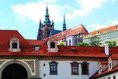 View of St. Vitus Cathedral. Wallenstein Garden in Prague Czech Republic's capital city Stock Photography