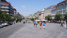 View St. Wenceslas square with poeple walking Stock Photography