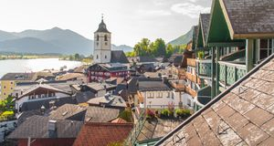 View of St. Wolfgang waterfront with Wolfgangsee lake, Austria royalty free stock photography