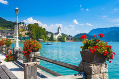 View of St. Wolfgang waterfront Stock Photography