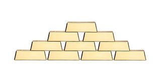 A view of a stack of gold bars Stock Photos