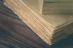 A stack of the old books stock photo