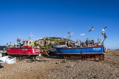 View of the Stade Fishing Quarter, Hastings, East Sussex, England. View of the Hastings Fishing Fleet preparation and maintenance area. Here are many active royalty free stock photo