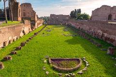 View of the Stadium of Domitian on the Palatine Hill in Rome Royalty Free Stock Photos