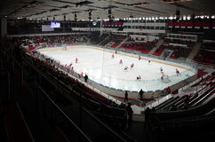 View on stadium with hockey players Royalty Free Stock Image
