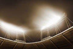 View of stadium lights at night stock photos