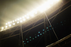 View of stadium lights at night. At game Royalty Free Stock Image