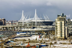 The view  on the stadium  St. Petersburg arena  in St. Petersbur Royalty Free Stock Images