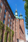 View of Stadshuset Stockholm. A Vertical View of The Swedish City Hall in Stockholm Stock Photo