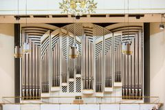 View of the stage of the concert hall at the Cracow Philharmonic with the new Orgelbau organ in the background. Cracow, Stock Photography