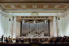 View of the stage of the concert hall at the Cracow Philharmonic with the new Orgelbau organ in the background. Cracow, Stock Photos
