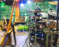 View of stage during rock-concert, with musical instruments and scene stage lights, rock show performance, before the performance,. With nobody on stage Royalty Free Stock Photo