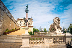 View on stairs of Buda castle from street. View on stairs with lion statue in Buda castle from street Royalty Free Stock Photography