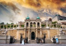 View on stairs of Buda castle from street. View on stairs in Buda castle from street royalty free stock photo