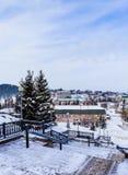 View from stairs sanatorium `Rodnik Altai` to the resort town of Belokurikha Stock Images