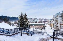 View from stairs sanatorium `Rodnik Altai` to the resort town of Belokurikha in winter, Altai Stock Photography