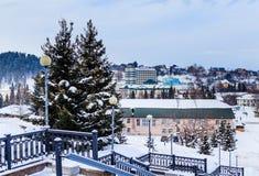 View from stairs sanatorium `Rodnik Altai` to the resort town of Belokurikha in winter, Altai Royalty Free Stock Photos