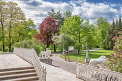 View of the stairs and the spring park on Elagin Island, St. Petersburg Stock Images