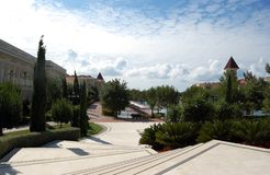 View from the stairs to territory of the Turkish luxury hotel. Royalty Free Stock Images