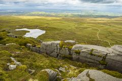 View of The Stairway to Heaven at Cuilcagh mountain from the top.  stock photography