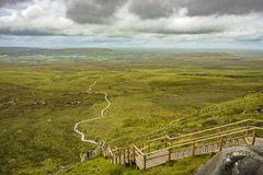 View of The Stairway to Heaven at Cuilcagh mountain from the top.  stock photo