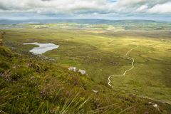 View of The Stairway to Heaven at Cuilcagh mountain from the top.  stock photos