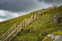 View of The Stairway to Heaven at Cuilcagh mountain. From the top stock image