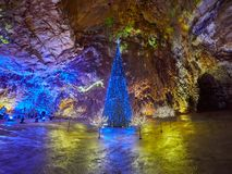 View of stalactites and stalagmites in an underground cavern - Postojna cave in Slovenia.  royalty free stock photo