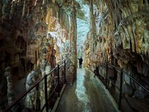 View of stalactites and stalagmites in an underground cavern - Postojna cave in Slovenia.  royalty free stock photos